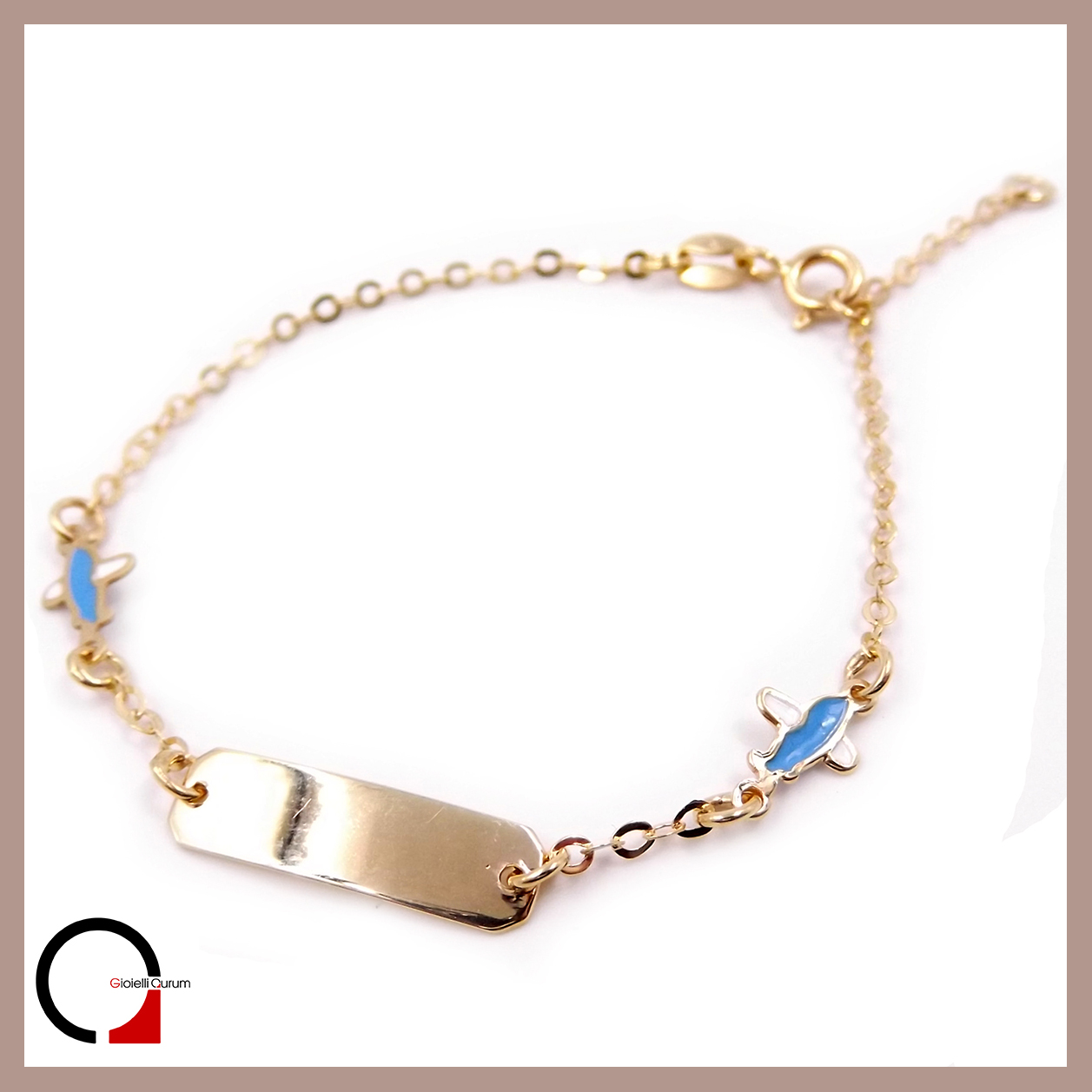 Bracciale Oro Battesimo Bambino.Baby Bracelet In Yellow Baby Bracelet With Enamel Christening Air