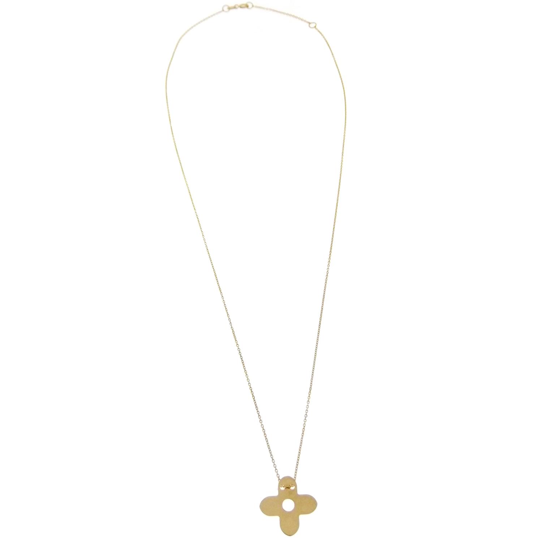 64512b6d8957 Collar de mujer de oro amarillo cadena gargantilla con colgante cruz ...
