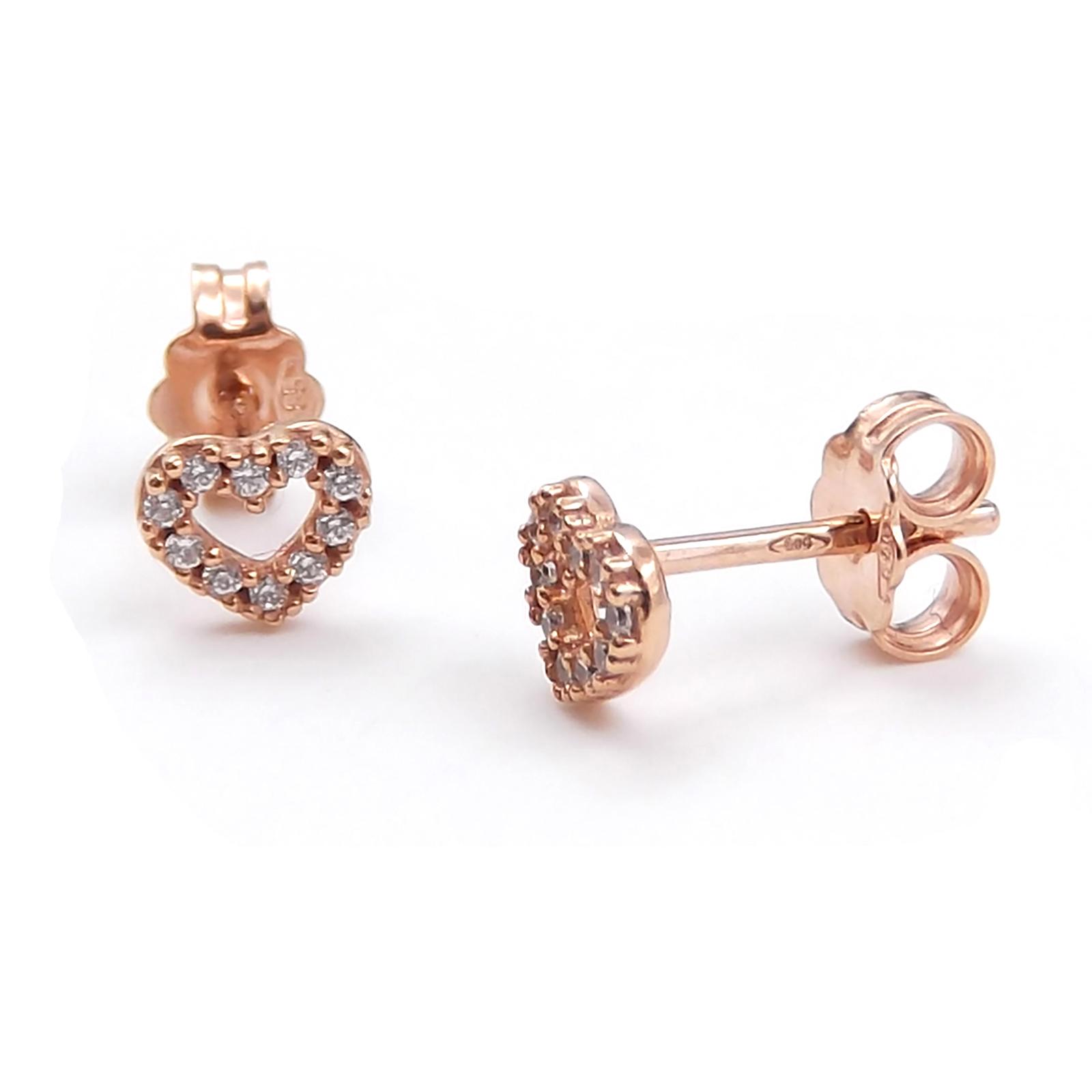 447eed66660dea Orecchini cuore in oro rosa 14 kt con zirconi bianchi da donna o ...