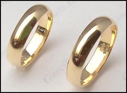 vendita calda online d4290 d66b6 Dettagli su 2 FEDI NUZIALI in oro giallo o bianco per matrimonio 5 mm.  anello matrimoniale